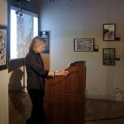 Liza speaking at Museum of Cartoon and Comic Art, NYC