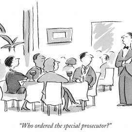 â??Who ordered the special prosecutor?â? (Waiter speaks to group at table as he bears large platter with live attorney crouched on it.)